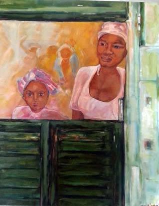 Tropical view, olie op doek, 100 x 150